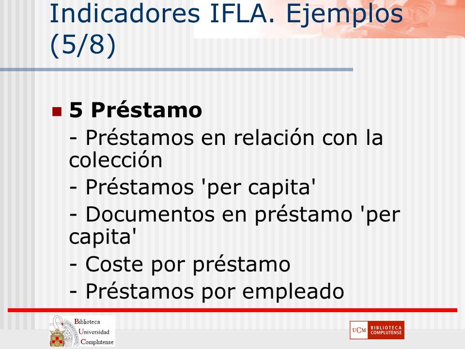 Indicadores IFLA. Ejemplos (5/8) 5 Préstamo - Préstamos en relación con la colección - Préstamos 'per capita' - Documentos en préstamo 'per capita' -