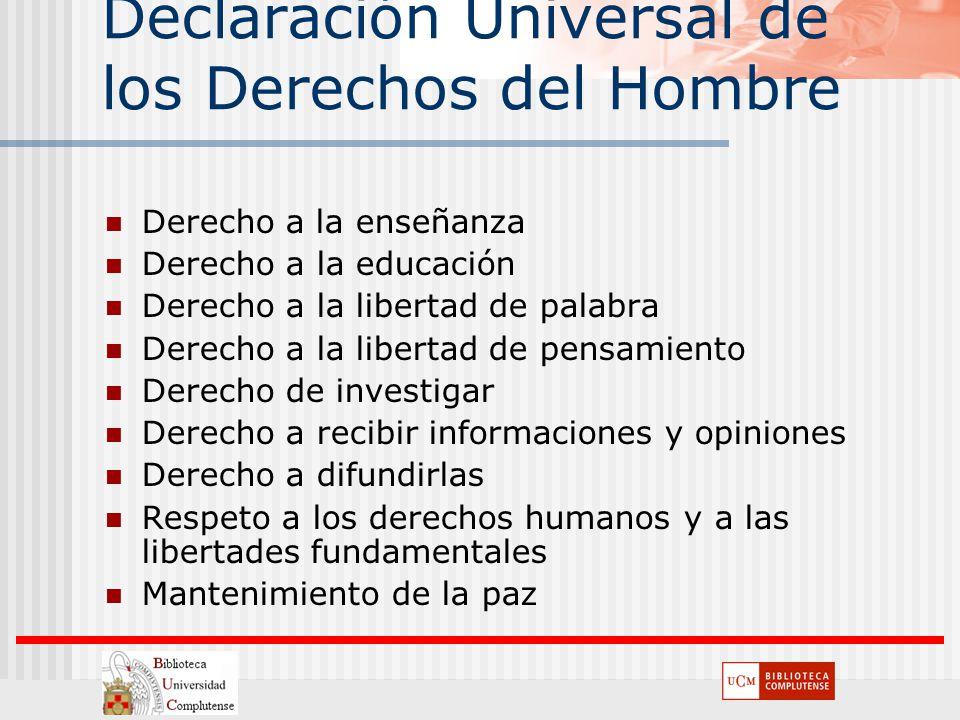 Declaración Universal de los Derechos del Hombre Derecho a la enseñanza Derecho a la educación Derecho a la libertad de palabra Derecho a la libertad