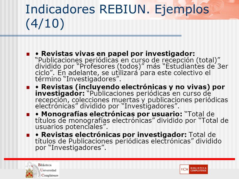 Indicadores REBIUN. Ejemplos (4/10) Revistas vivas en papel por investigador: Publicaciones periódicas en curso de recepción (total) dividido por Prof