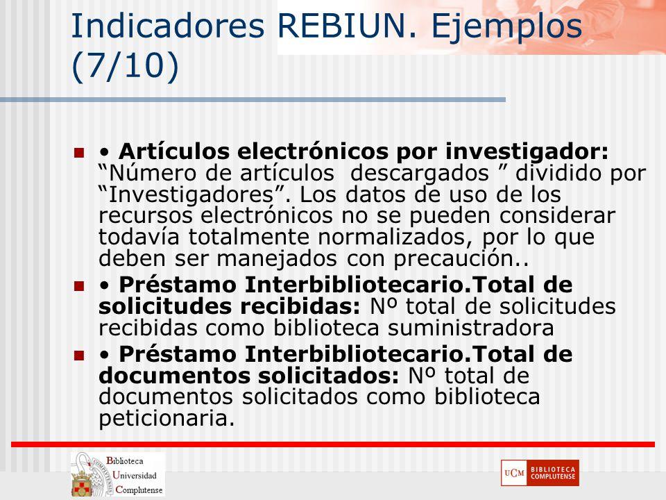 Indicadores REBIUN. Ejemplos (7/10) Artículos electrónicos por investigador: Número de artículos descargados dividido por Investigadores. Los datos de