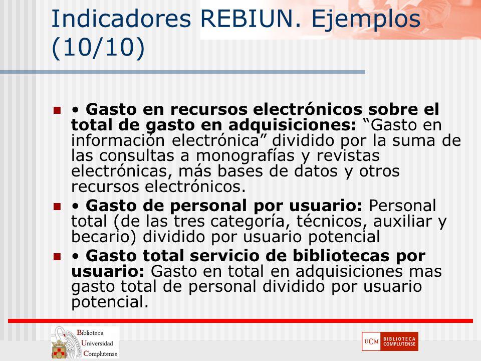 Indicadores REBIUN. Ejemplos (10/10) Gasto en recursos electrónicos sobre el total de gasto en adquisiciones: Gasto en información electrónica dividid