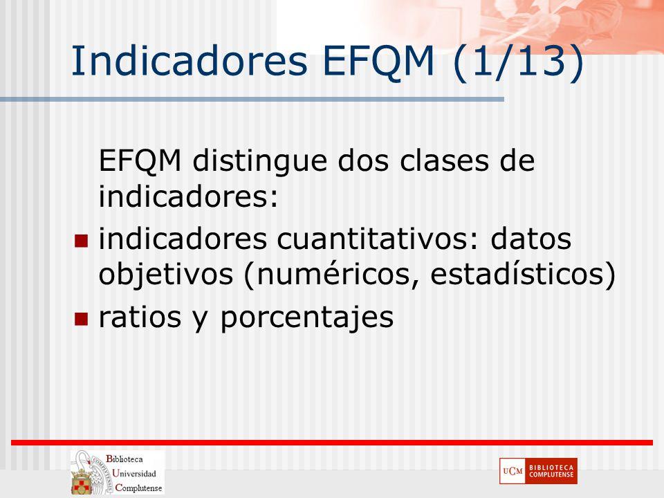 Indicadores EFQM (1/13) EFQM distingue dos clases de indicadores: indicadores cuantitativos: datos objetivos (numéricos, estadísticos) ratios y porcen