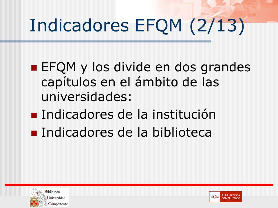 Indicadores EFQM (2/13) EFQM y los divide en dos grandes capítulos en el ámbito de las universidades: Indicadores de la institución Indicadores de la