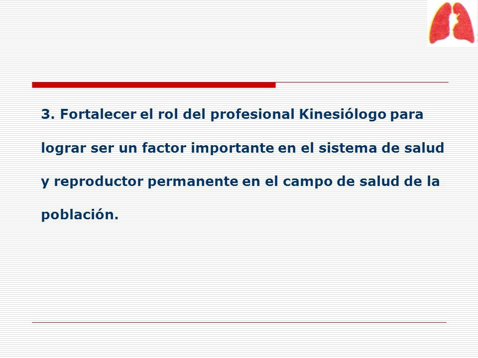 3. Fortalecer el rol del profesional Kinesiólogo para lograr ser un factor importante en el sistema de salud y reproductor permanente en el campo de s