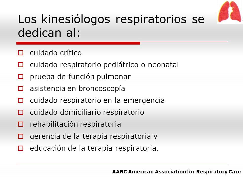 Los kinesiólogos respiratorios se dedican al: cuidado crítico cuidado respiratorio pediátrico o neonatal prueba de función pulmonar asistencia en bron
