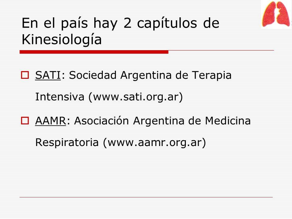 En el país hay 2 capítulos de Kinesiología SATI: Sociedad Argentina de Terapia Intensiva (www.sati.org.ar) AAMR: Asociación Argentina de Medicina Resp