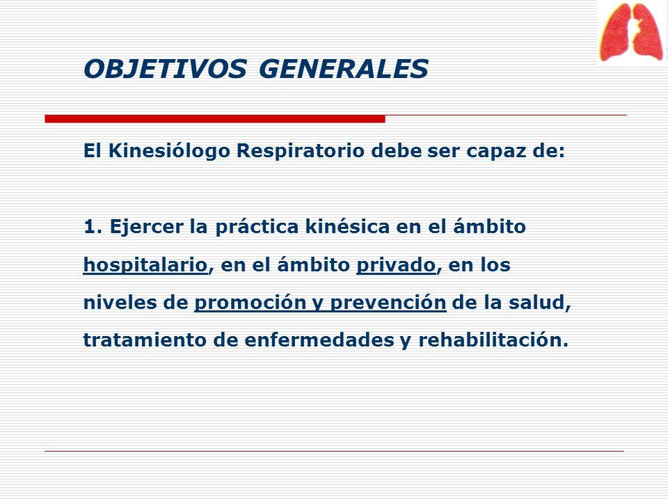 OBJETIVOS GENERALES El Kinesiólogo Respiratorio debe ser capaz de: 1. Ejercer la práctica kinésica en el ámbito hospitalario, en el ámbito privado, en