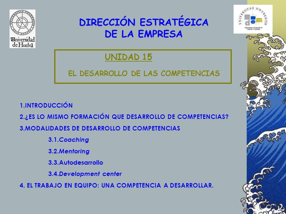 DIRECCIÓN ESTRATÉGICA DE LA EMPRESA EL DESARROLLO DE LAS COMPETENCIAS UNIDAD 15 1.INTRODUCCIÓN 2.¿ES LO MISMO FORMACIÓN QUE DESARROLLO DE COMPETENCIAS