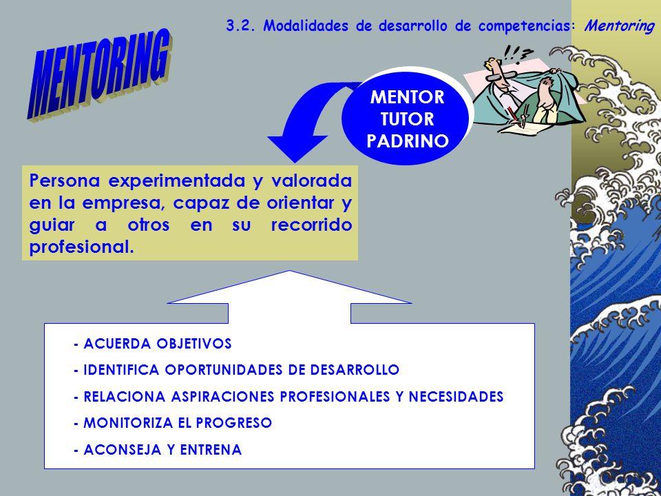 - ACUERDA OBJETIVOS - IDENTIFICA OPORTUNIDADES DE DESARROLLO - RELACIONA ASPIRACIONES PROFESIONALES Y NECESIDADES - MONITORIZA EL PROGRESO - ACONSEJA