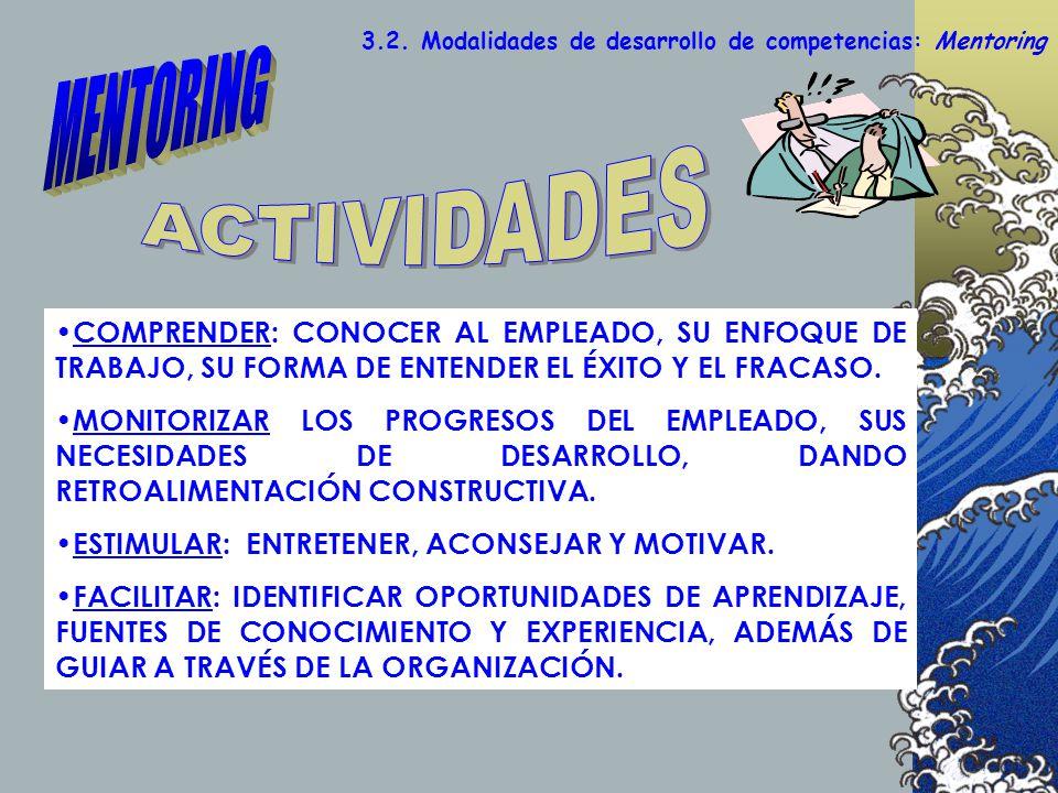 3.2. Modalidades de desarrollo de competencias: Mentoring COMPRENDER: CONOCER AL EMPLEADO, SU ENFOQUE DE TRABAJO, SU FORMA DE ENTENDER EL ÉXITO Y EL F