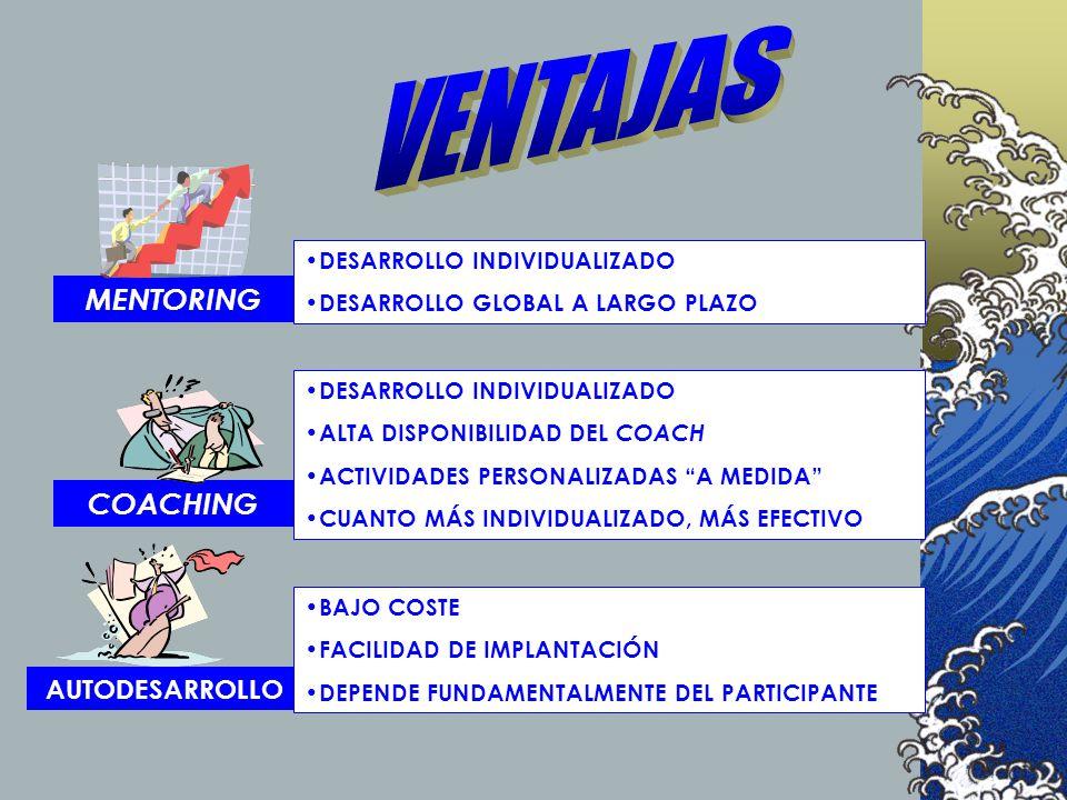 COACHING MENTORING AUTODESARROLLO DESARROLLO INDIVIDUALIZADO ALTA DISPONIBILIDAD DEL COACH ACTIVIDADES PERSONALIZADAS A MEDIDA CUANTO MÁS INDIVIDUALIZ