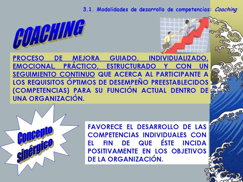 3.1. Modalidades de desarrollo de competencias: Coaching PROCESO DE MEJORA GUIADO, INDIVIDUALIZADO, EMOCIONAL, PRÁCTICO, ESTRUCTURADO Y CON UN SEGUIMI