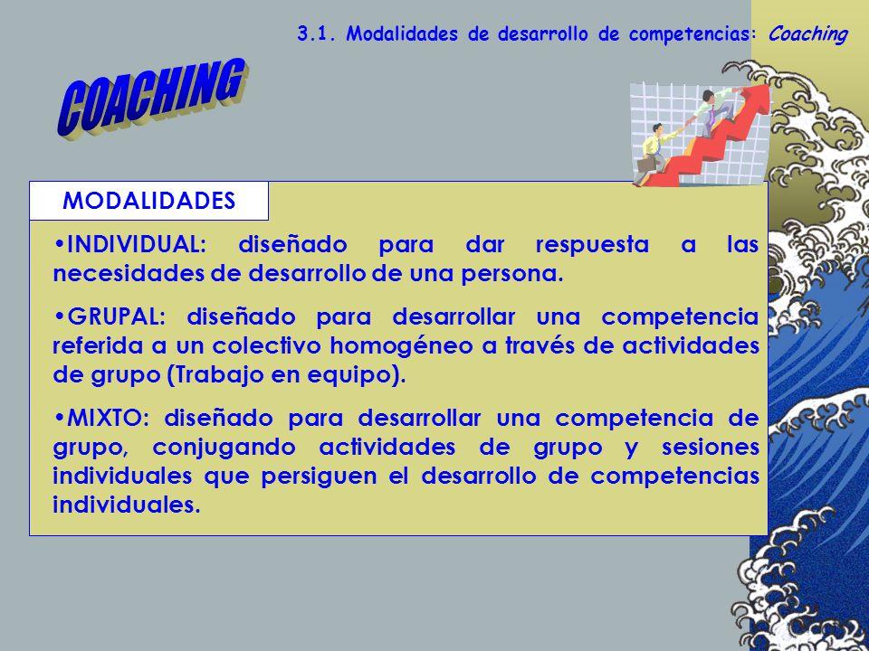 3.1. Modalidades de desarrollo de competencias: Coaching INDIVIDUAL: diseñado para dar respuesta a las necesidades de desarrollo de una persona. GRUPA