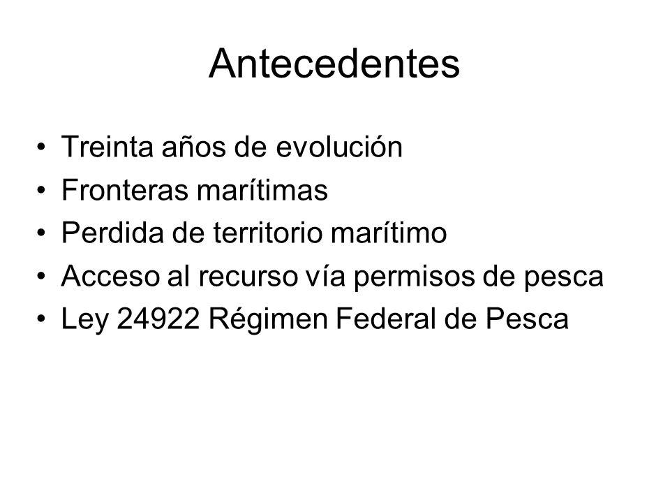 Antecedentes Treinta años de evolución Fronteras marítimas Perdida de territorio marítimo Acceso al recurso vía permisos de pesca Ley 24922 Régimen Federal de Pesca