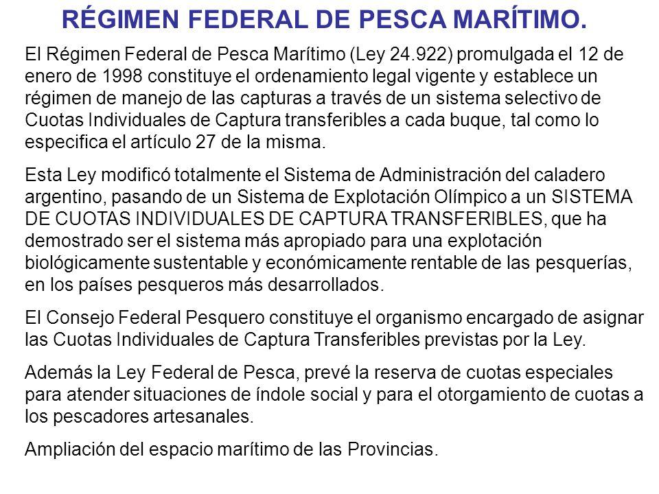 El Régimen Federal de Pesca Marítimo (Ley 24.922) promulgada el 12 de enero de 1998 constituye el ordenamiento legal vigente y establece un régimen de manejo de las capturas a través de un sistema selectivo de Cuotas Individuales de Captura transferibles a cada buque, tal como lo especifica el artículo 27 de la misma.
