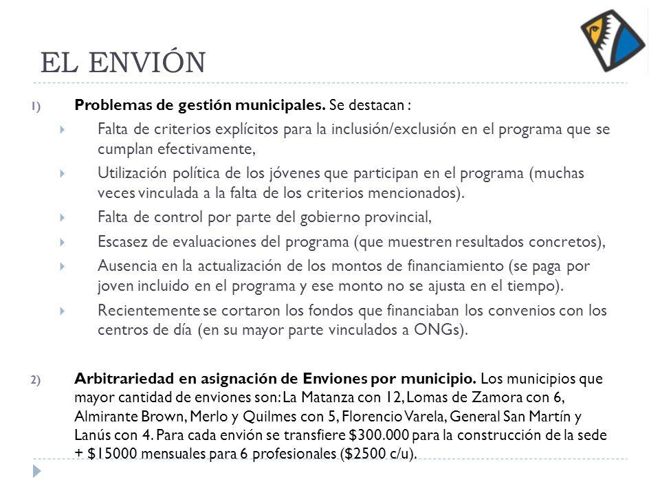 EL ENVIÓN 1) Problemas de gestión municipales. Se destacan : Falta de criterios explícitos para la inclusión/exclusión en el programa que se cumplan e