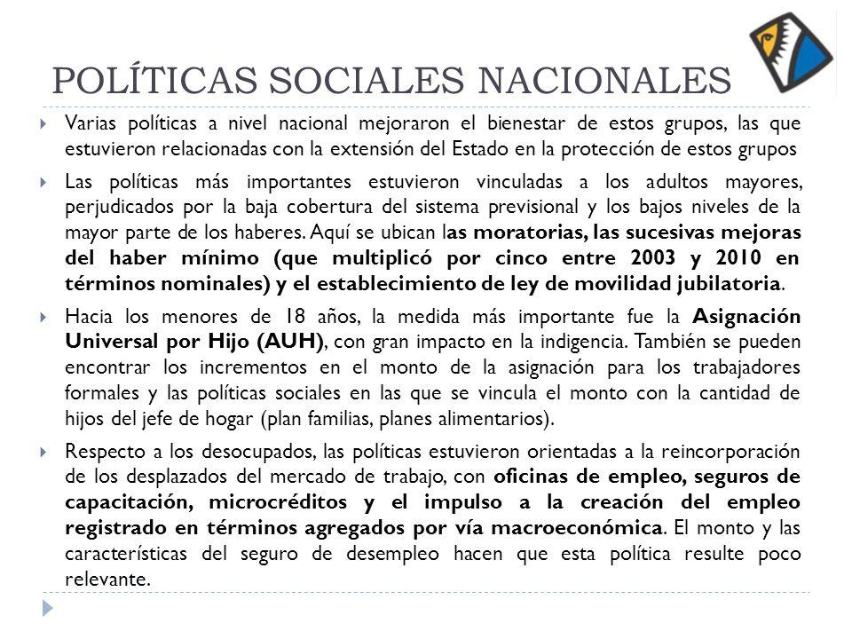 POLÍTICAS SOCIALES NACIONALES Varias políticas a nivel nacional mejoraron el bienestar de estos grupos, las que estuvieron relacionadas con la extensi