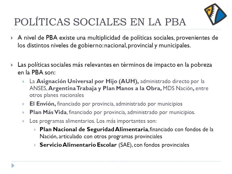 POLÍTICAS SOCIALES EN LA PBA A nivel de PBA existe una multiplicidad de políticas sociales, provenientes de los distintos niveles de gobierno: nacional, provincial y municipales.