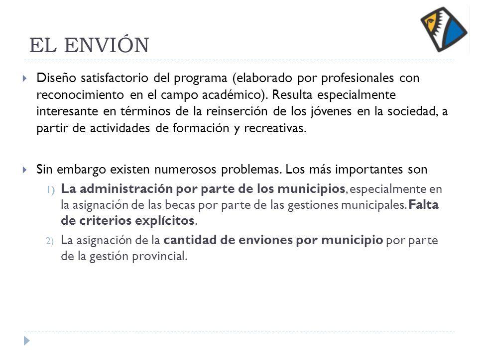 EL ENVIÓN Diseño satisfactorio del programa (elaborado por profesionales con reconocimiento en el campo académico).