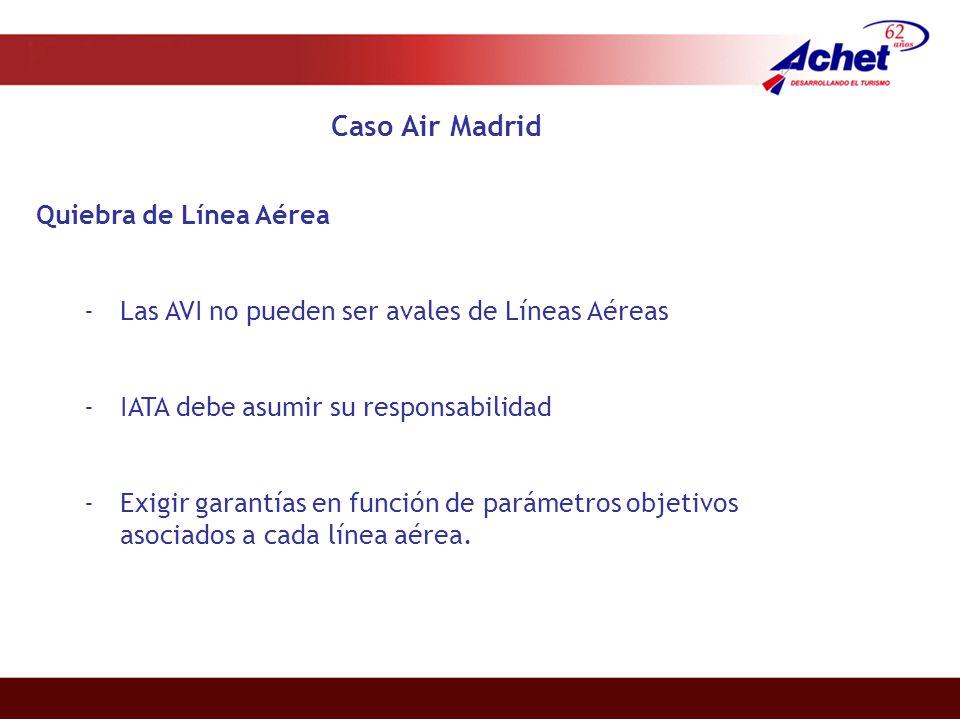 Caso Air Madrid Quiebra de Línea Aérea -Las AVI no pueden ser avales de Líneas Aéreas -IATA debe asumir su responsabilidad -Exigir garantías en función de parámetros objetivos asociados a cada línea aérea.