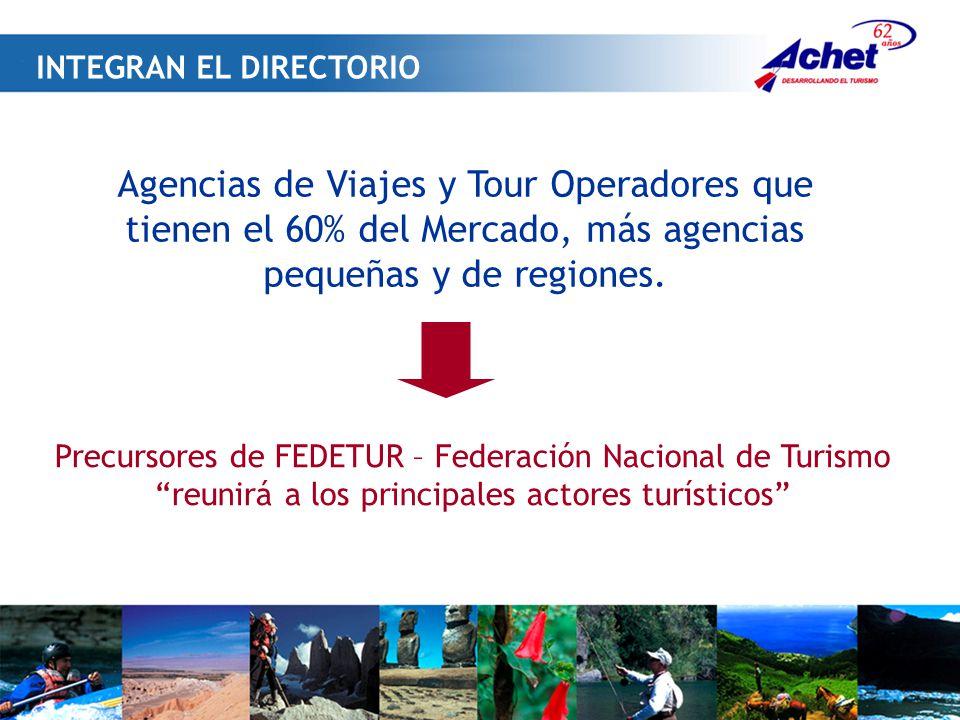 Agencias de Viajes y Tour Operadores que tienen el 60% del Mercado, más agencias pequeñas y de regiones.