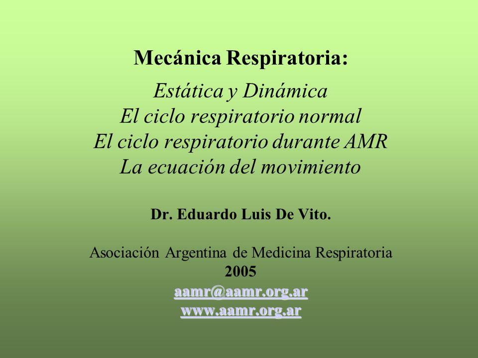 Mecánica Respiratoria: Estática y Dinámica El ciclo respiratorio normal El ciclo respiratorio durante AMR La ecuación del movimiento Dr. Eduardo Luis