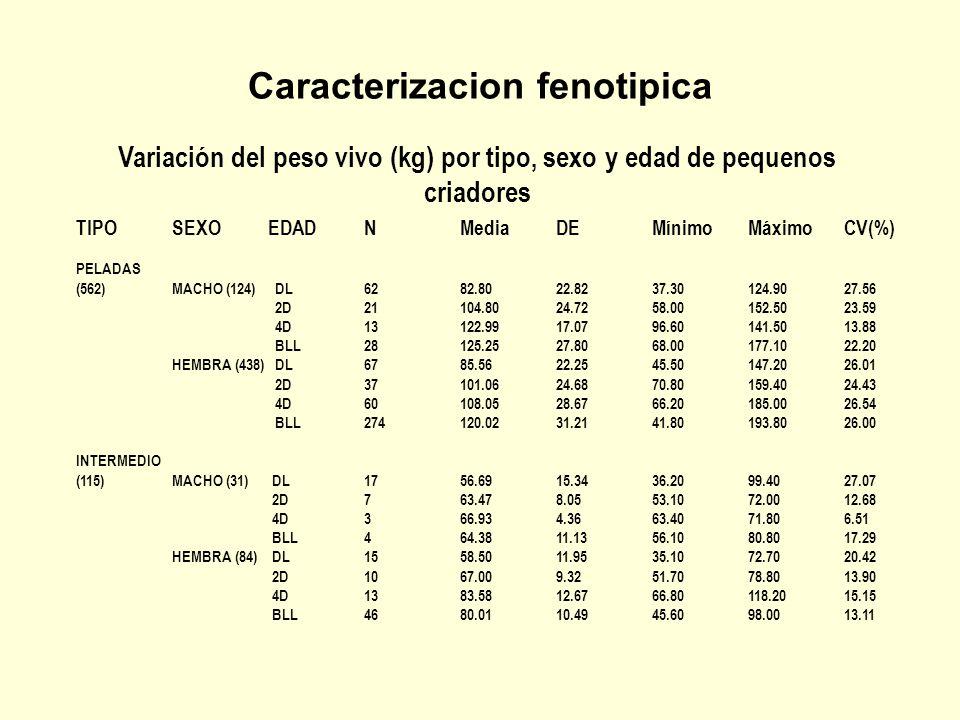 Caracterizacion fenotipica Variación del peso vivo (kg) por tipo, sexo y edad de pequenos criadores TIPOSEXOEDADNPV ACaACAGPT PCSPCIPCLCo LCLCG K'ARAS