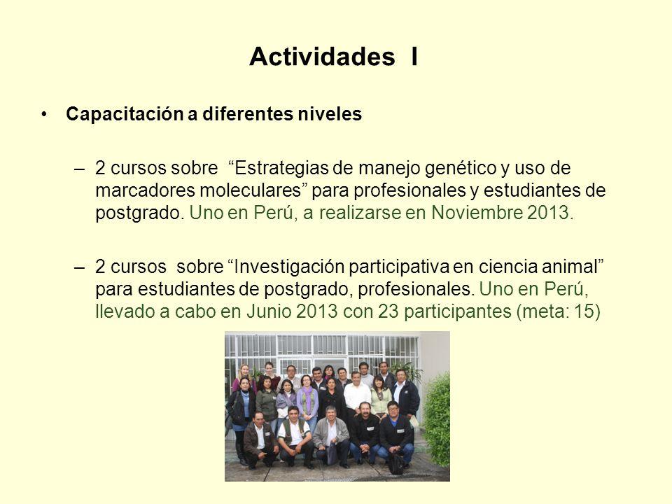 Actividades I Capacitación a diferentes niveles –2 cursos sobre Estrategias de manejo genético y uso de marcadores moleculares para profesionales y es