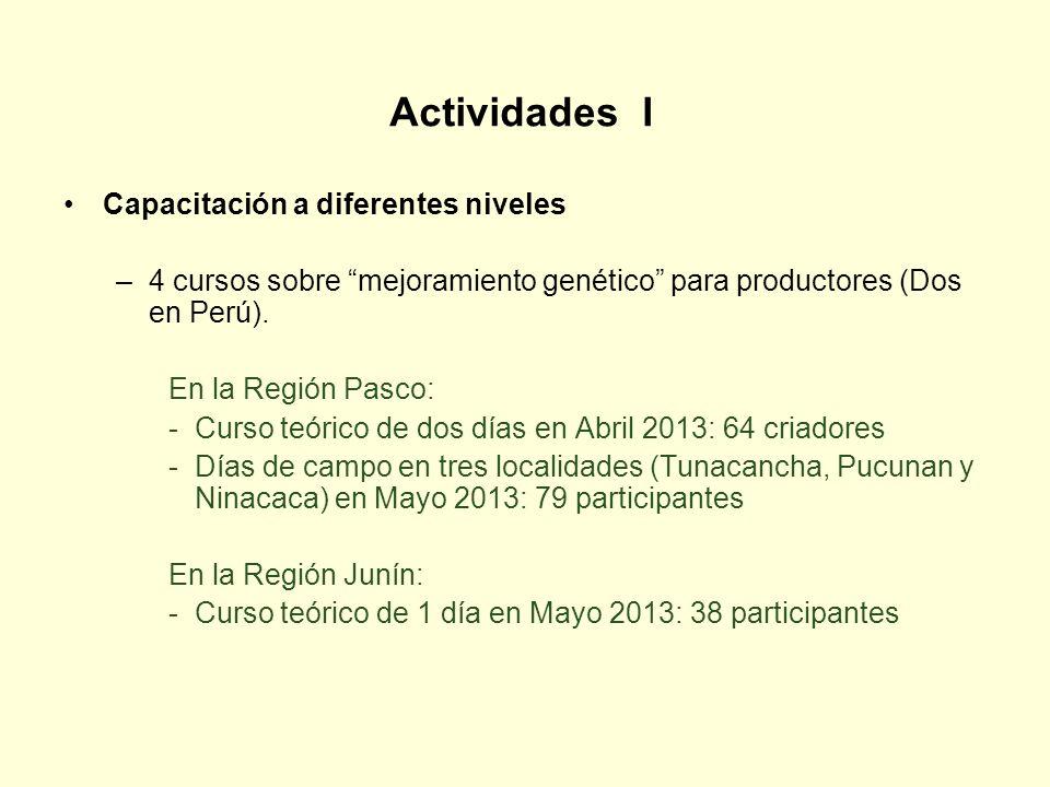 Actividades I Capacitación a diferentes niveles –4 cursos sobre mejoramiento genético para productores (Dos en Perú). En la Región Pasco: -Curso teóri