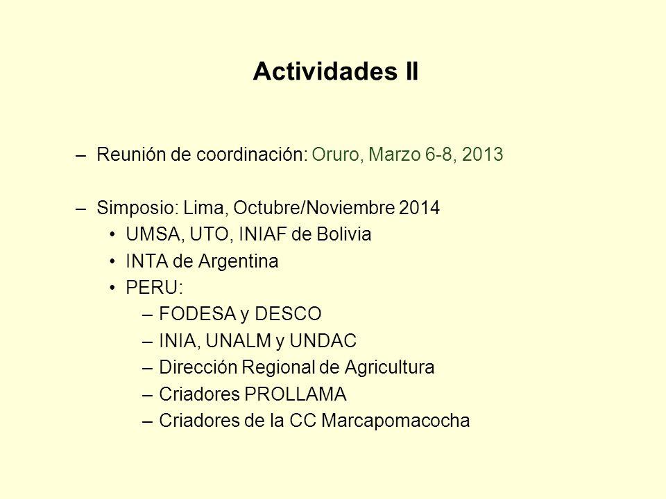 Actividades II –Reunión de coordinación: Oruro, Marzo 6-8, 2013 –Simposio: Lima, Octubre/Noviembre 2014 UMSA, UTO, INIAF de Bolivia INTA de Argentina