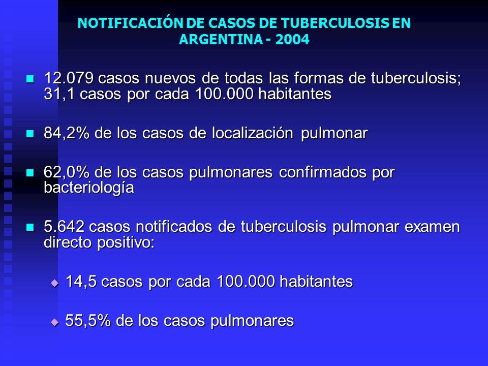 NOTIFICACIÓN DE CASOS DE TUBERCULOSIS EN ARGENTINA - 2004 12.079 casos nuevos de todas las formas de tuberculosis; 31,1 casos por cada 100.000 habitan