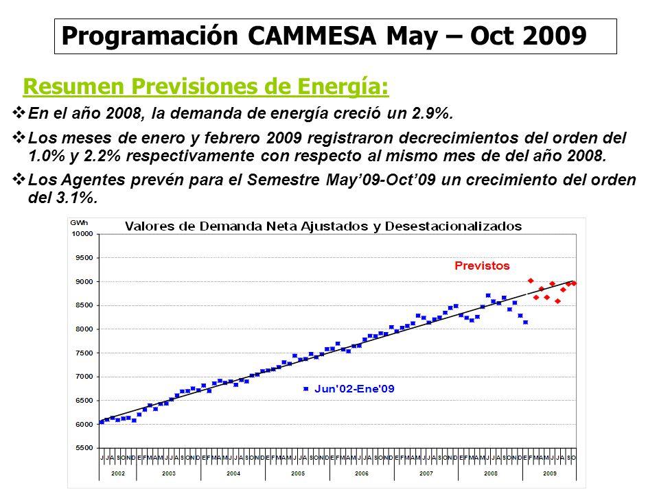 Resumen Previsiones de Energía: En el año 2008, la demanda de energía creció un 2.9%. Los meses de enero y febrero 2009 registraron decrecimientos del