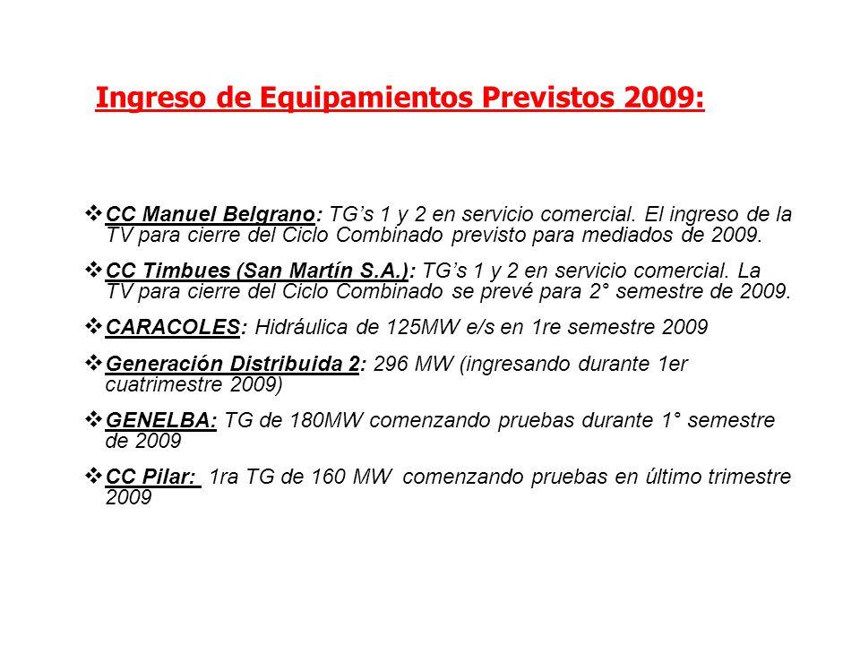Ingreso de Equipamientos Previstos 2009: CC Manuel Belgrano: TGs 1 y 2 en servicio comercial. El ingreso de la TV para cierre del Ciclo Combinado prev