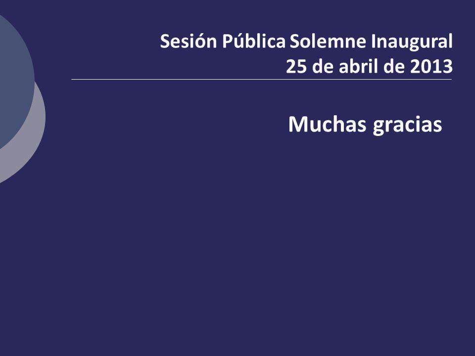 Muchas gracias Sesión Pública Solemne Inaugural 25 de abril de 2013