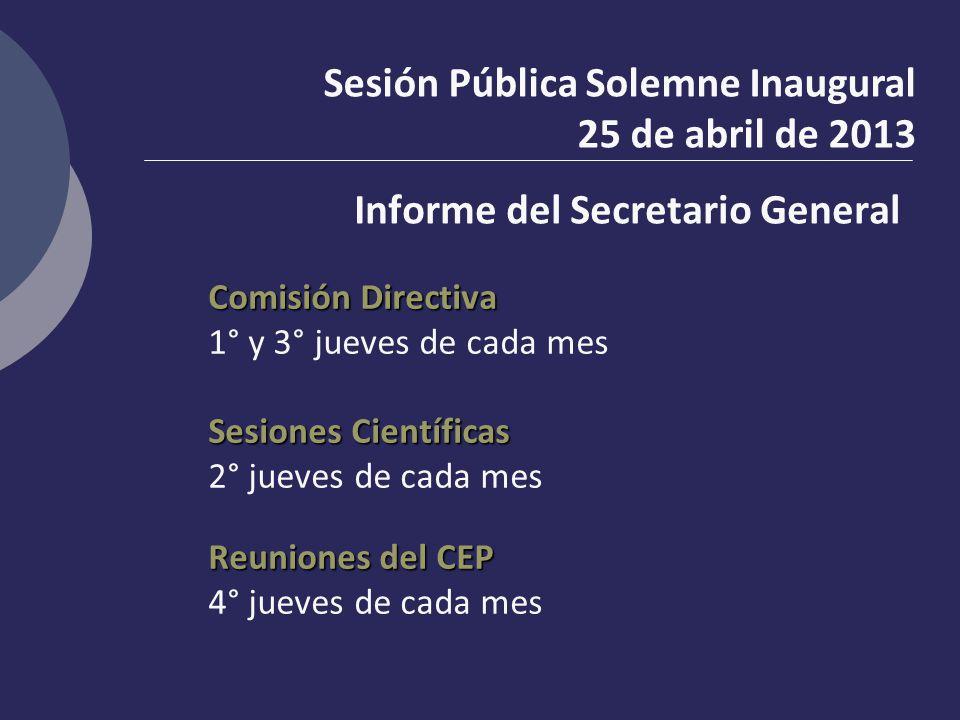 Informe del Secretario General Comisión Directiva 1° y 3° jueves de cada mes Sesiones Científicas 2° jueves de cada mes Reuniones del CEP 4° jueves de