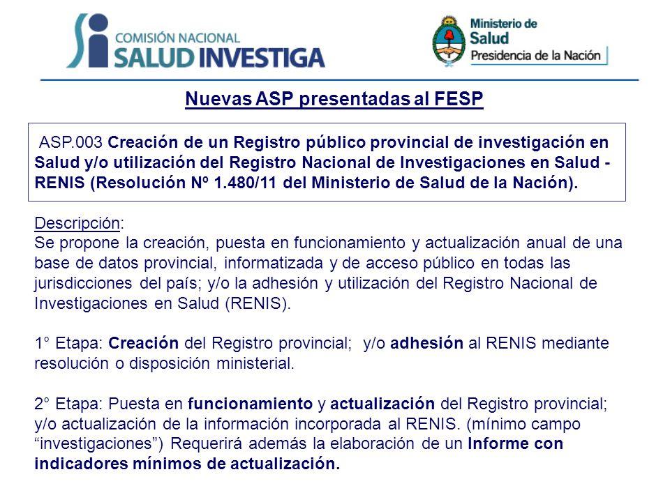 Nuevas ASP presentadas al FESP ASP.003 Creación de un Registro público provincial de investigación en Salud y/o utilización del Registro Nacional de Investigaciones en Salud - RENIS (Resolución Nº 1.480/11 del Ministerio de Salud de la Nación).