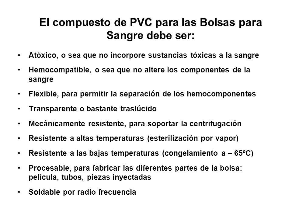 El compuesto de PVC para las Bolsas para Sangre debe ser: Atóxico, o sea que no incorpore sustancias tóxicas a la sangre Hemocompatible, o sea que no