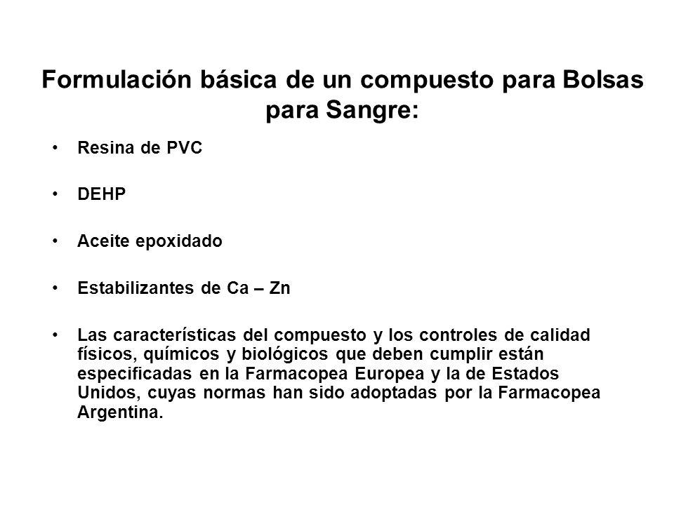 Formulación básica de un compuesto para Bolsas para Sangre: Resina de PVC DEHP Aceite epoxidado Estabilizantes de Ca – Zn Las características del comp
