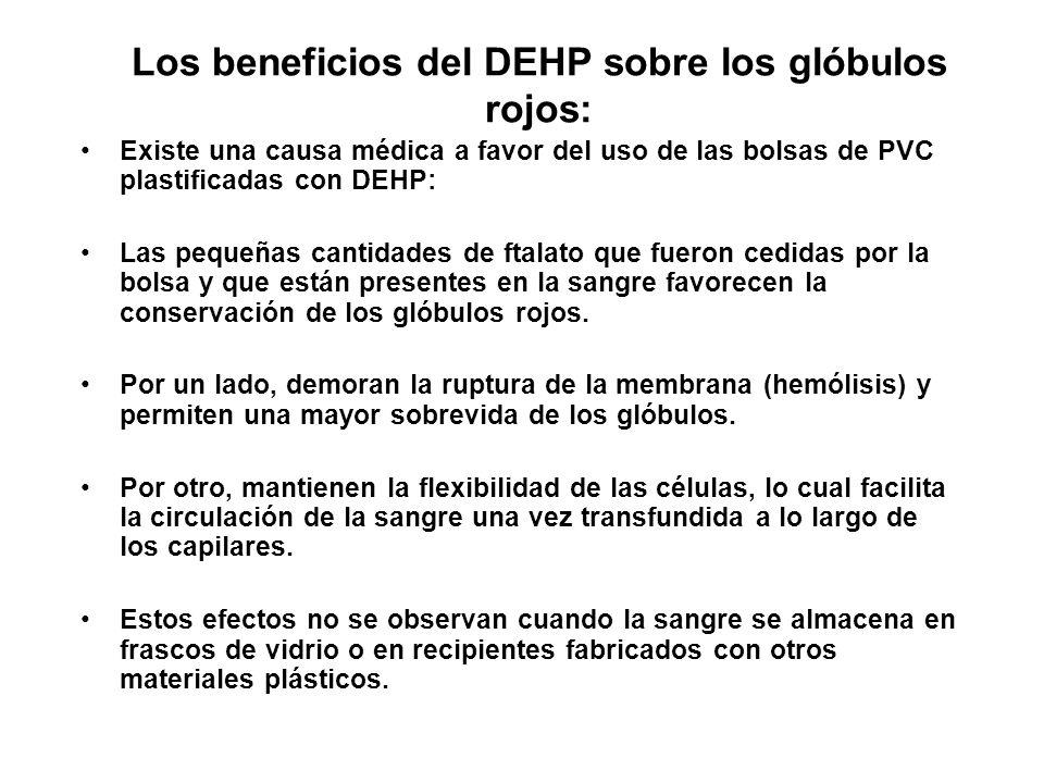Los beneficios del DEHP sobre los glóbulos rojos: Existe una causa médica a favor del uso de las bolsas de PVC plastificadas con DEHP: Las pequeñas ca