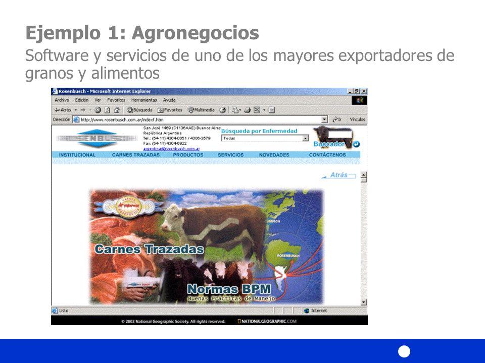Ejemplo 1: Agronegocios Software y servicios de uno de los mayores exportadores de granos y alimentos