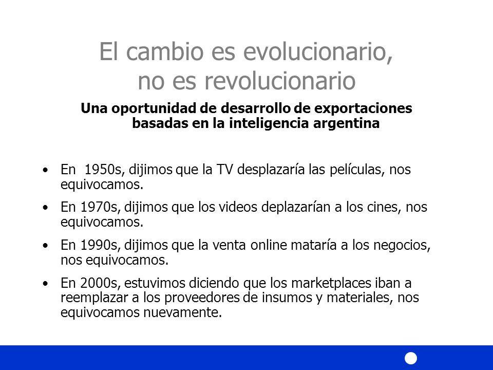 El cambio es evolucionario, no es revolucionario Una oportunidad de desarrollo de exportaciones basadas en la inteligencia argentina En 1950s, dijimos que la TV desplazaría las películas, nos equivocamos.