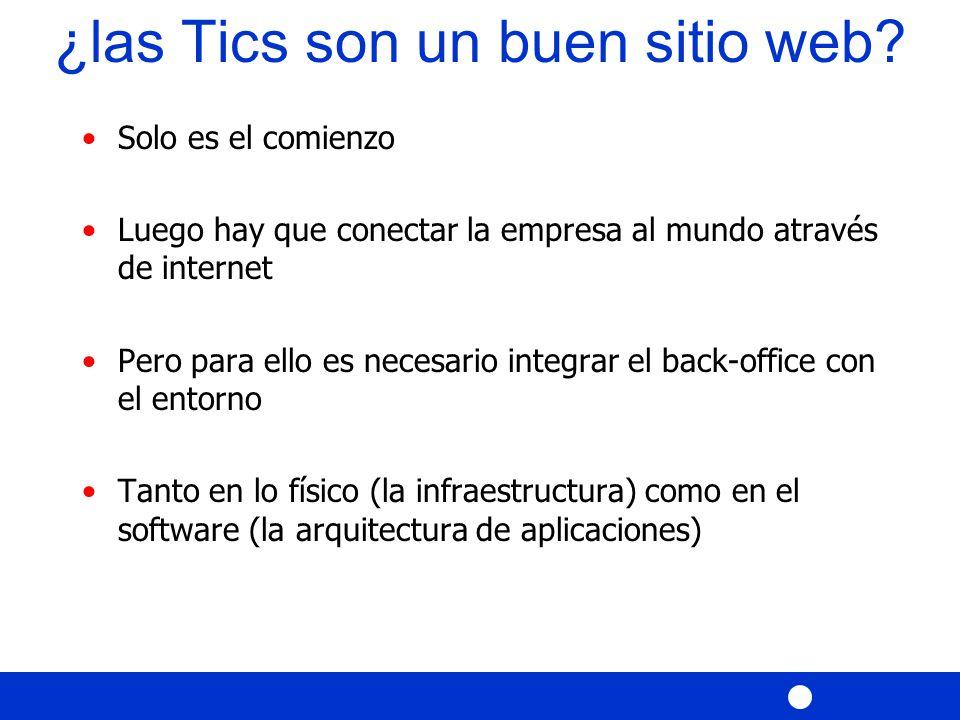 Solo es el comienzo Luego hay que conectar la empresa al mundo através de internet Pero para ello es necesario integrar el back-office con el entorno Tanto en lo físico (la infraestructura) como en el software (la arquitectura de aplicaciones) ¿las Tics son un buen sitio web