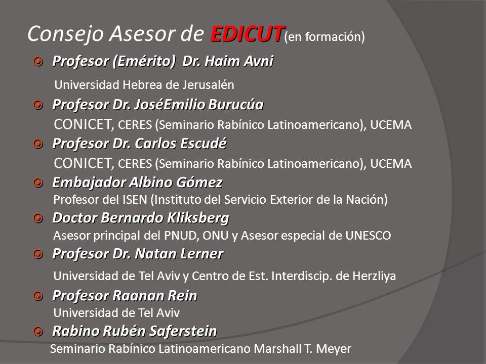 EDICUT Consejo Asesor de EDICUT (en formación) Profesor (Emérito) Dr. Haim Avni Profesor (Emérito) Dr. Haim Avni Universidad Hebrea de Jerusalén Profe