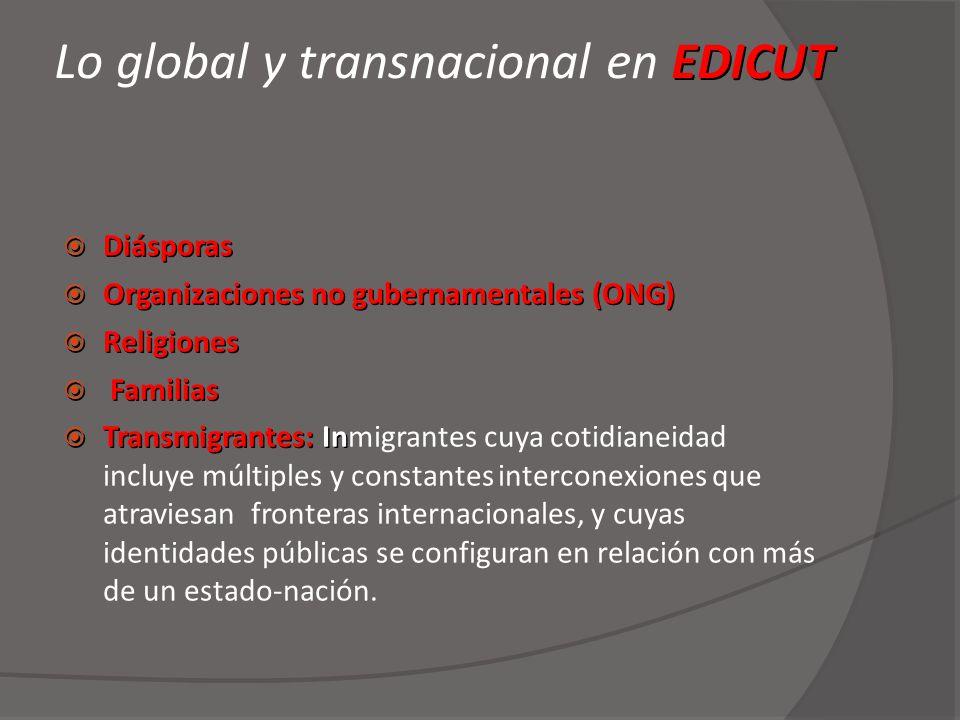 EDICUT Lo global y transnacional en EDICUT Diásporas Diásporas Organizaciones no gubernamentales (ONG) Organizaciones no gubernamentales (ONG) Religio