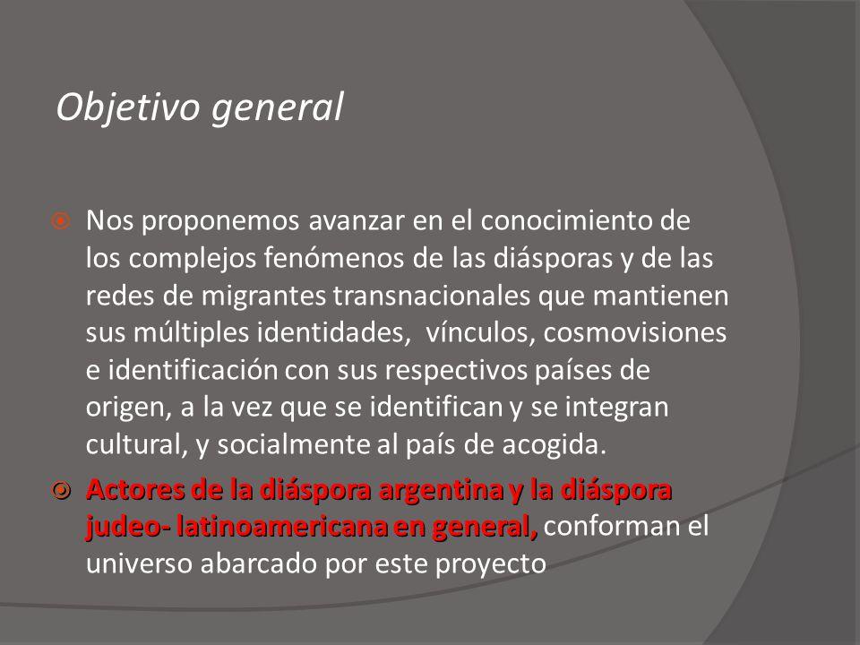 Objetivo general Nos proponemos avanzar en el conocimiento de los complejos fenómenos de las diásporas y de las redes de migrantes transnacionales que