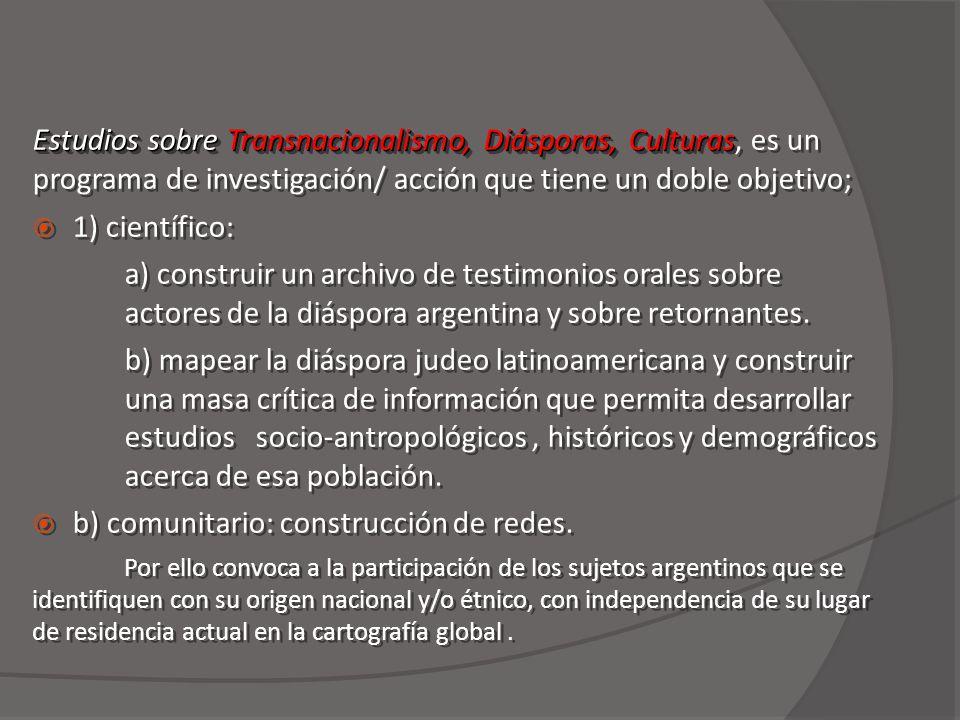Estudios sobre Transnacionalismo, Diásporas, Culturas Estudios sobre Transnacionalismo, Diásporas, Culturas, es un programa de investigación/ acción que tiene un doble objetivo; 1) científico: a) construir un archivo de testimonios orales sobre actores de la diáspora argentina y sobre retornantes.