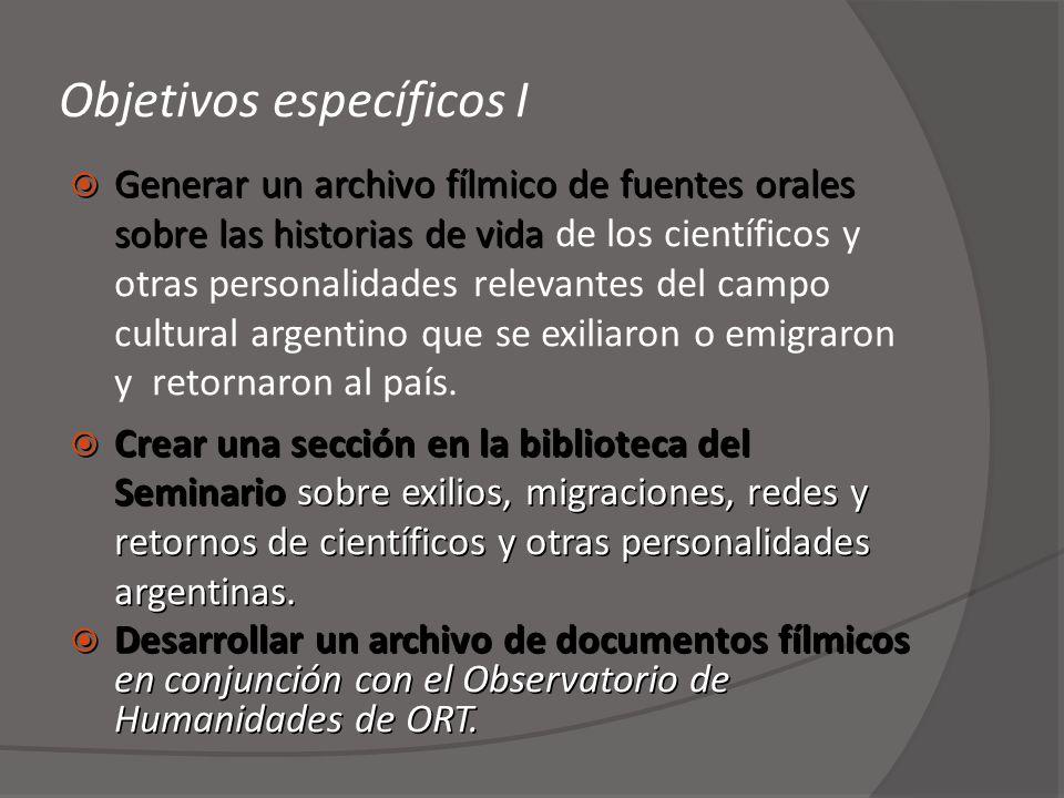 Objetivos específicos I Generar un archivo fílmico de fuentes orales sobre las historias de vida Generar un archivo fílmico de fuentes orales sobre la