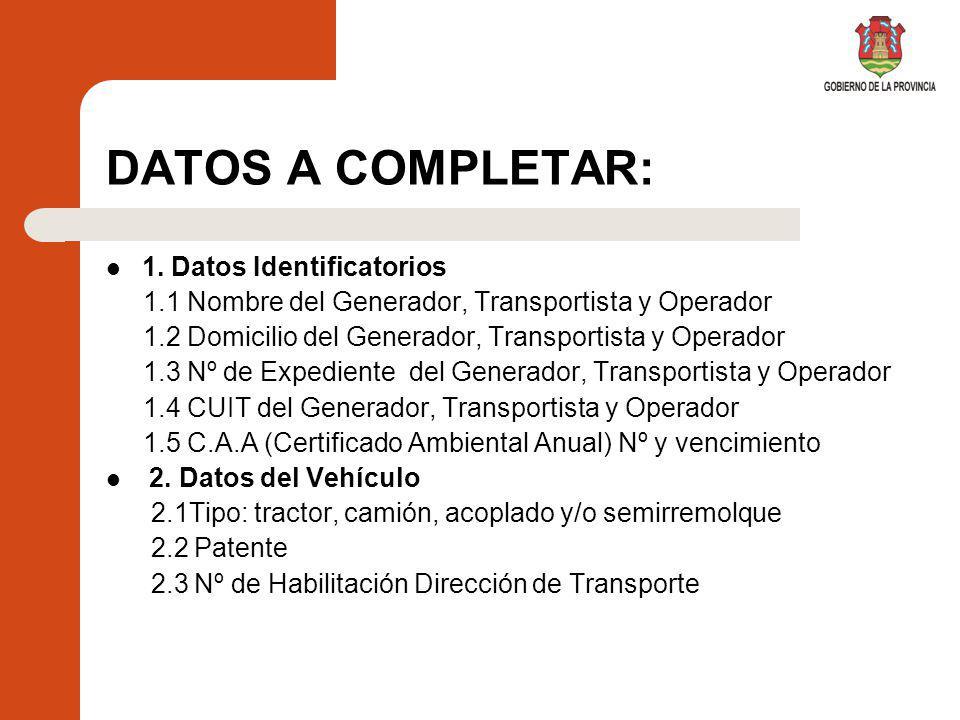 DATOS A COMPLETAR: 1.