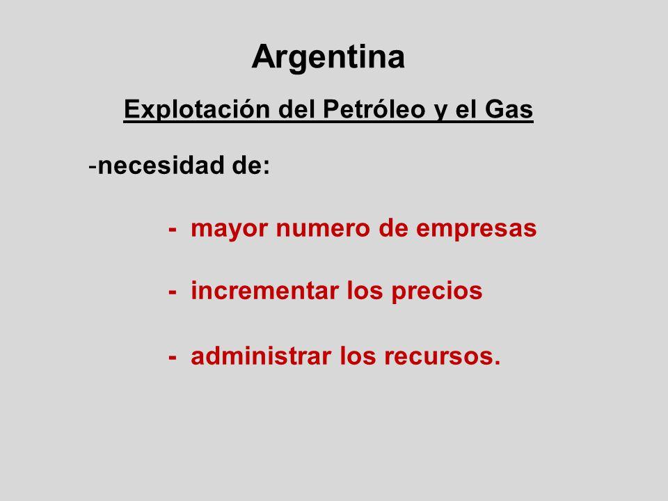 Argentina Explotación del Petróleo y el Gas -necesidad de: - mayor numero de empresas - incrementar los precios - administrar los recursos.