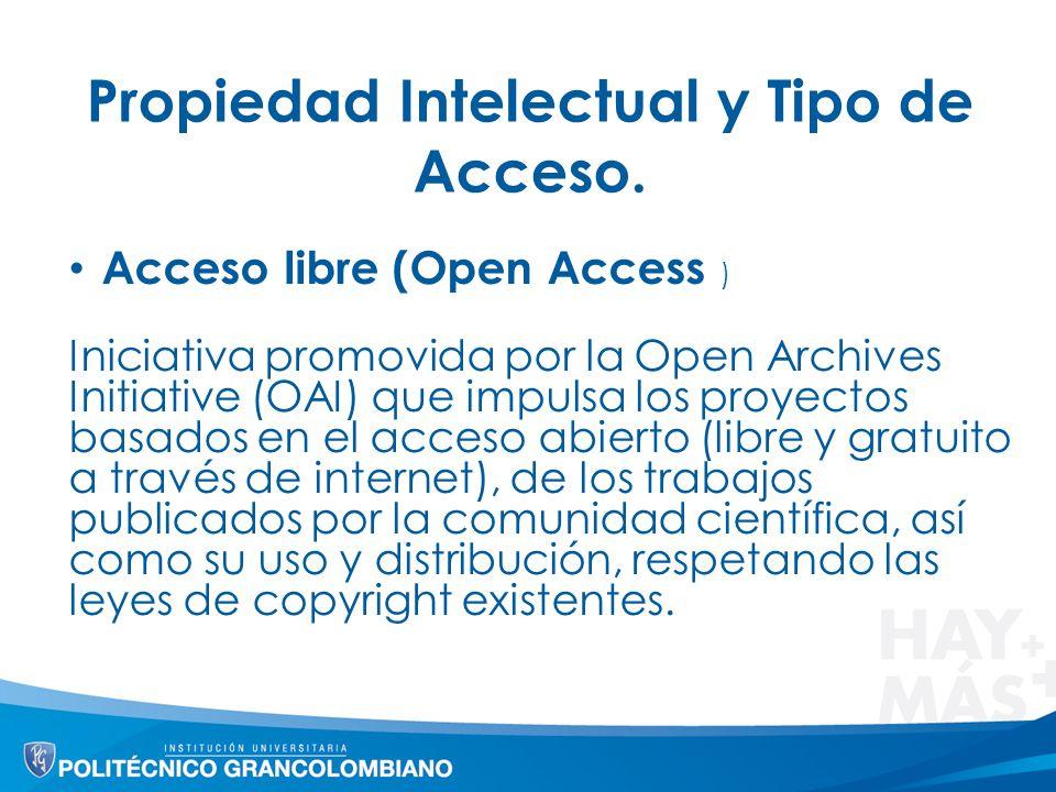 Propiedad Intelectual y Tipo de Acceso. Acceso libre (Open Access ) Iniciativa promovida por la Open Archives Initiative (OAI) que impulsa los proyect